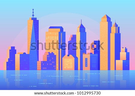 Skyscraper and modern tall buildings vector illustration. Urban cityscape with reflection in water. Urban concept in flat style and bright colors. Building and city.