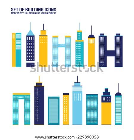 skyscraper building icon set