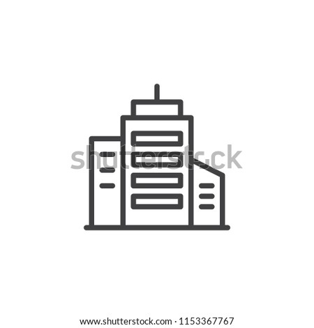 Skyscraper building outline icon. linear style sign for mobile concept and web design. office building simple line vector icon. Symbol, logo illustration. Pixel perfect vector graphics