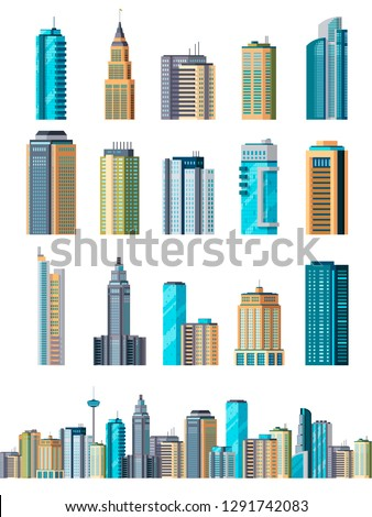 Skyscraper buildings. Modern building flat office city apartment, house residential block, exterior business town cartoon vector