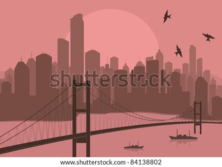 skyscraper city bridge