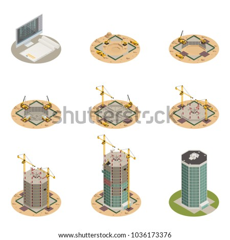 Skyscraper construction process progress 9 isometric icons collection from project design to final building isolated vector illustration