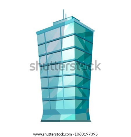 Skyscraper glass building isolated on white. Traditional attribute of big cities for people living and offices. Vector illustration of futuristic modern building with huge windows gaming app concept