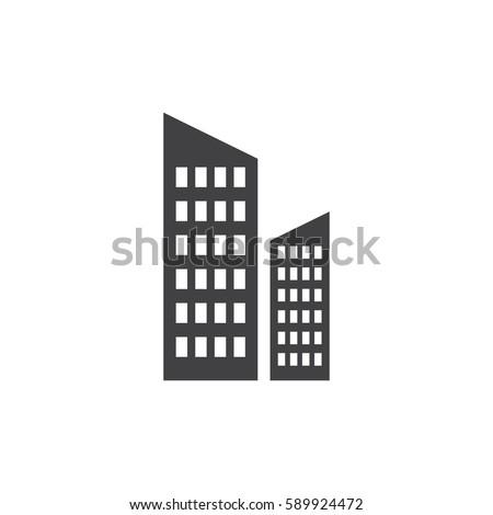 Skyscraper icon in black on a white background. Vector illustration