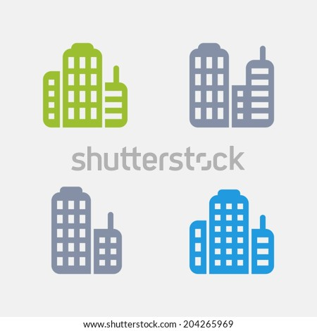 Skyscraper Icons. Granite Series. Simple glyph stile icons in 4 versions.
