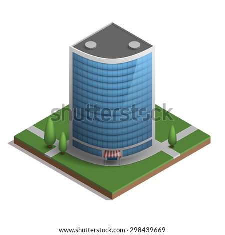 Skyscraper in isometric style of blue glass with tree.
