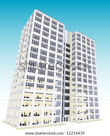 Skyscraper / Office in vector format. Every feature of each building including doors and windows can be edited or colored to suit.