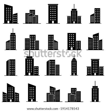 Skyscraper set icon, logo isolated on white background