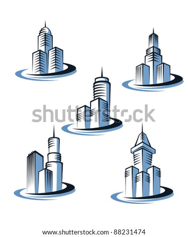Skyscrapers and real estate symbols for design and decorate, such a logo. Jpeg version also available in gallery
