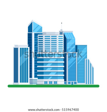 Skyscrapers buildings. Towers city business architecture, apartment and office building, urban landscape. Vector illustration in trendy flat style isolated on white background