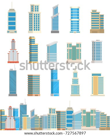Skyscrapers buildings towers office city architecture house business apartment vector illustration