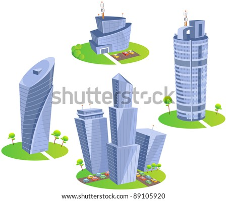 skyscrapers fun cartoon map