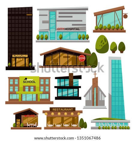 Skyscrapers modern city buildings urban architecture futuristic design vector isolated restaurant and cafe shop and church business center and hotel constructions glass and concrete facades and bushes