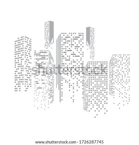 Skyscrapers with illuminated windows. Eps10 vector illustration.