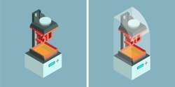 SLA (laser stereolithography) 3d printer. Vector isometric icons