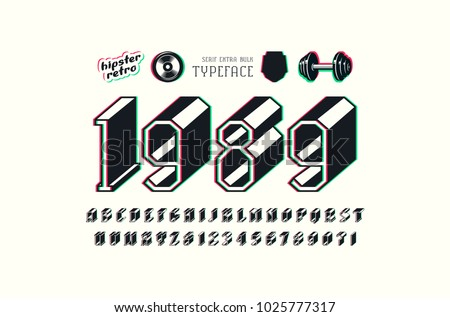 Slab serif bulk font with glitch distortion effect. Letters and numbers for logo and title design. Color print on white background