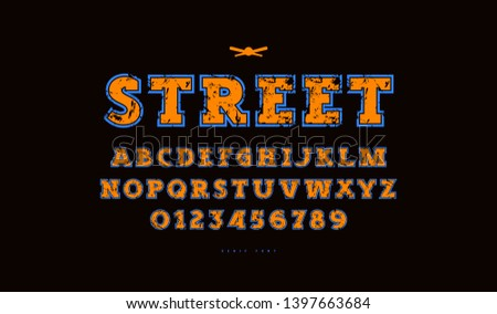 Slab serif font with contour. Letters and numbers with vintage texture for athletic logo and t-shirt design. Color print on black background