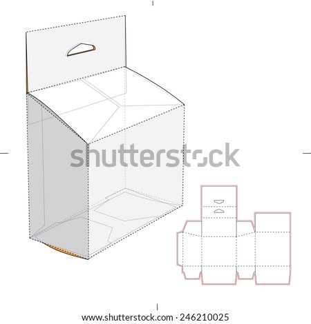 Royalty free vertical tall box with die cut pattern for Point of sale display template
