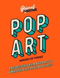 Slanted 'Pop Art' Vintage 3D Sans Serif Font. Rounded Colorful Alphabet. Retro Typography. Framed Outlined Typeface. Vector Illustration.