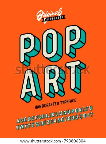 Slanted 'Pop Art' Vintage 3D Sans Serif Font. Rounded Colorful Alphabet. Retro Typography. Framed Outlined Typeface. Vector Illustration. - Shutterstock ID 793806304
