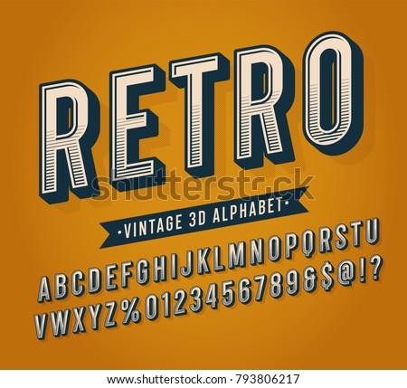 slanted vintage retro 3d sans...
