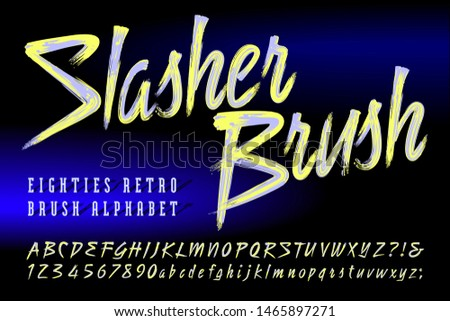Slasher Brush is a duotone brush script alphabet. This 1980s retro style font captures the vibe of eighties art, music, and game graphics.
