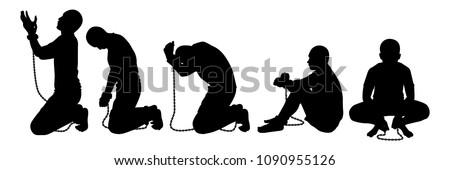 Slave silhouette vector set Foto stock ©