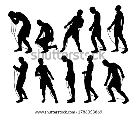 Slave with chain silhouette vector set Foto stock ©