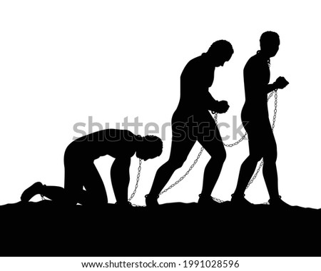 Slave with shackle silhouette vector on white background Foto stock ©