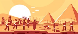 Slaves In Egypt - Passover illustration of slaves carrying bricks and a stylized landscape of the pyramids in the background