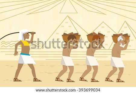 Slaves In Egypt - Passover illustration of slaves carrying bricks and a stylized landscape of the pyramids in the background. Eps10