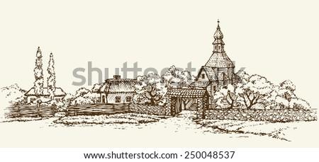 slavic rustic scenery  clay hut ...