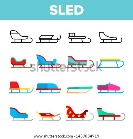 Sled, Winter Activity Vector Linear Icons Set. Differently Shaped And Colored Sled. Sleigh Sport, Winter Activity Equipment Thin Line Pictograms. Childhood Outdoor Entertainment Flat Illustrations Foto stock ©