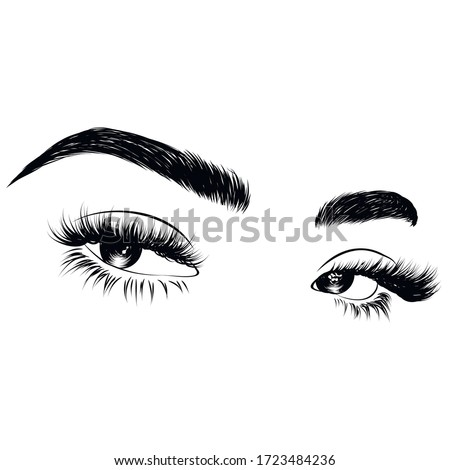 Sleek fashion illustration of the eye with luxe makeup and natural eyebrow. Hand drawn vector idea for business visit cards, templates, web, salon banners,brochures. Microblading visit card