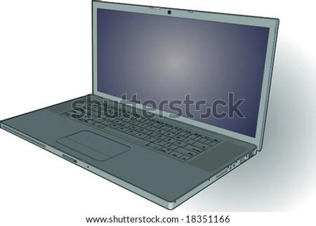 Sleek Metal Laptop Vector
