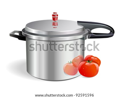 Sleek Pressure Cooker and tomatoes