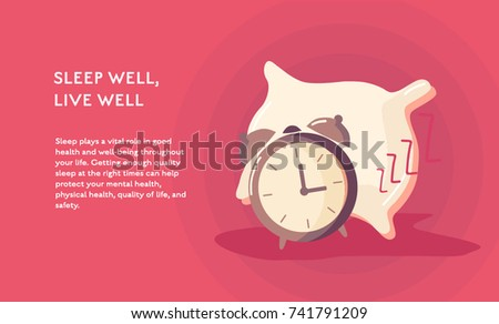 Sleep and alarm clock concept vector flat poster design. Illustration with place for text