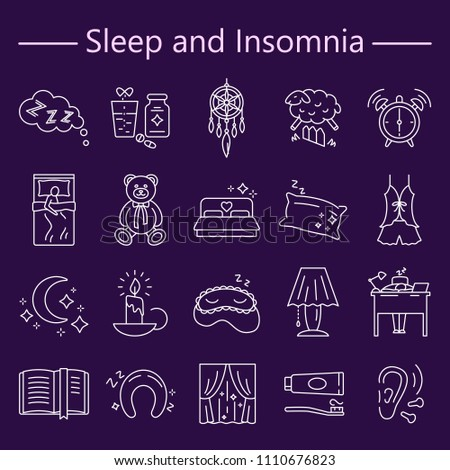 sleep and insomnia line icons