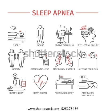 Sleep Apnea. Symptoms, Treatment. Line icons set. Vector signs for web graphics.