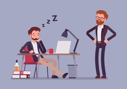 Sleep at office work. Young manager relaxing at workplace desk during working hours caught by boss, lazy employee, staff reduced productivity. Vector business concept flat style cartoon illustration