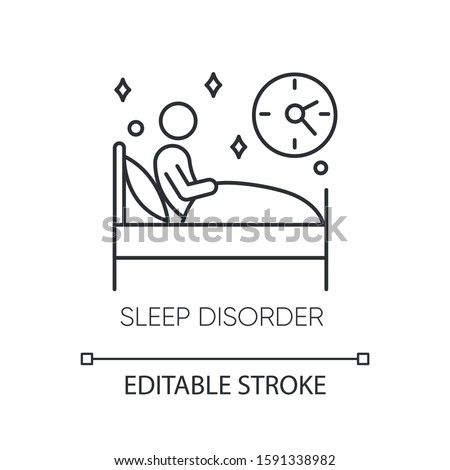 Sleep deprivation linear icon. Insomnia. Nightmare and night terror. Dyssomnia. Mental disorder. Thin line illustration. Contour symbol. Vector isolated outline drawing. Editable stroke