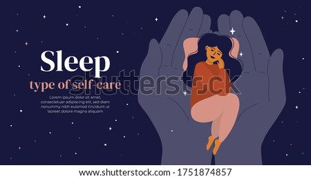 Sleep is type of self care. Young woman in pyjama lying on human palms in night sky. Hands holding sleeping girl. Bedtime, healthy dreams and healthcare concept. Vector illustration, design template Stockfoto ©