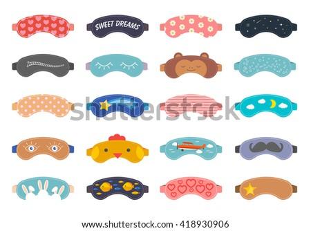 sleep masks icons set eye