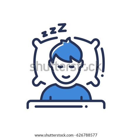 Sleep - modern vector single line icon. An image of a person having a dreamful slumber in bed on a pillow with some sleeping sound. Representation of rest, relaxation, restoration of energy