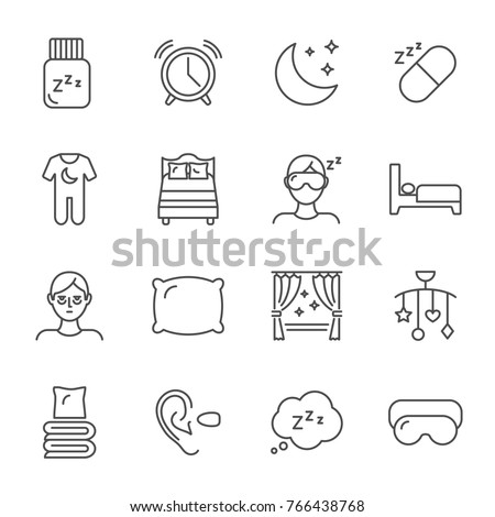 sleep set of vector icons line