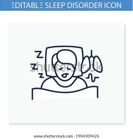 Sleep study line icon. Unusual breathing patterns. Sleep disorder. Healthy sleeping concept.Sleep problems treatment.Examination during sleep. Health care.Isolated vector illustration.Editable stroke