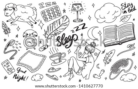Sleep time concept. Hand drawn night background. Sheep Pillow, Girl in dream in bed, Clouds and feather, Clock Nightie, Moon and Tea. Set of doodle icons, signs. Vintage sketch.