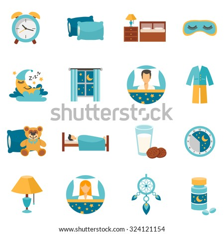 sleep time flat icons set with