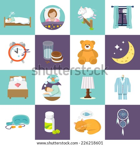 sleep time icons flat set with