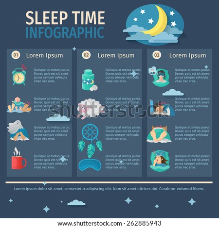 sleep time infographic set with